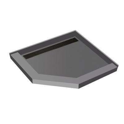 44 in. x 44 in. Neo-Angle Shower Base with Left Drain in Gray and Oil Rubbed Bronze Trench Grate