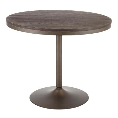Dakota Round Industrial Dining Table in Antique Metal and Espresso Wood
