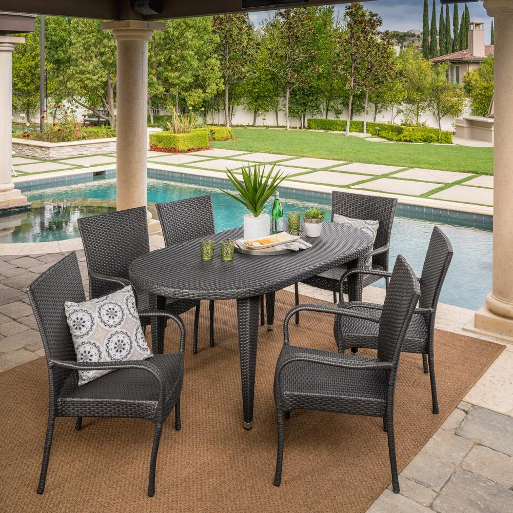Noble House Jayson Grey 7 Piece Wicker Oval Outdoor Dining