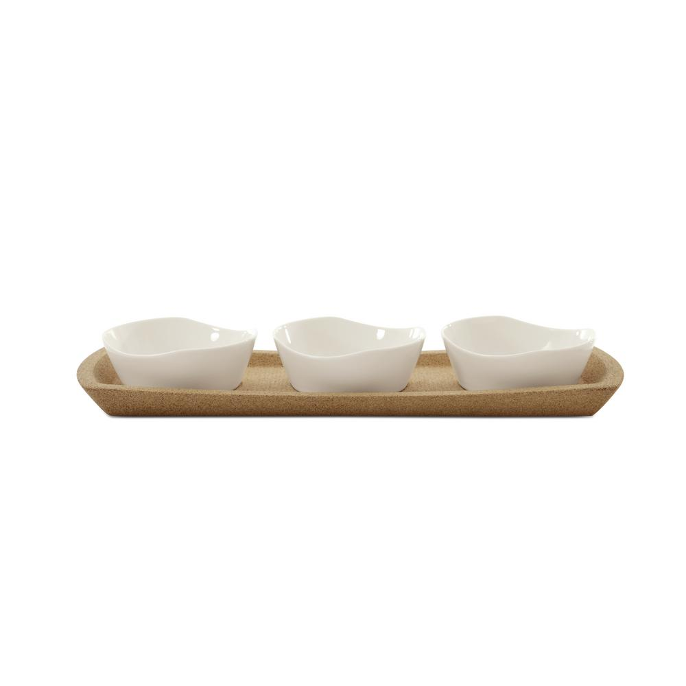 Eclipse 4-Piece Porcelain Snack Bowl Set with Tray