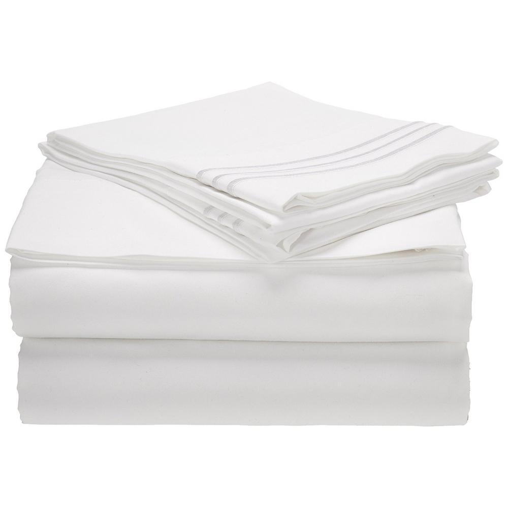 4-Piece White Solid Microfiber Full Sheet Set