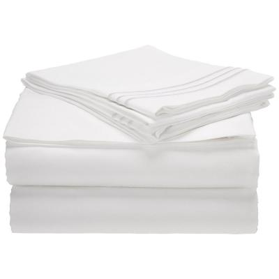 1500 Series 4-Piece White Triple Marrow Embroidered Pillowcases Microfiber Twin XL Size Bed Sheet Set