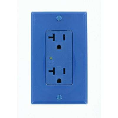 Decora Plus 20 Amp Industrial Grade Heavy Duty Self Grounding Duplex Surge Outlet, Blue