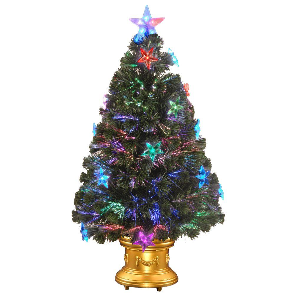 National tree company 36 in fiber optic fireworks for Star decorations for home