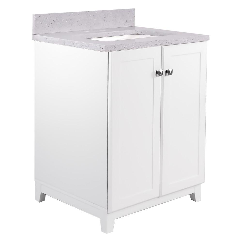 24 in. x 21 in. x 33 in. 2-Door Bath Vanity in White with 4 in. Centerset Flint Quartz Vanity Top with Basin in White