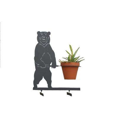 Bear Design Lawn Art 19.7 in. H x 15 in. W x 7.1 in. D with 5 3/4 in. Opening Black Metal 3D Standing Planter