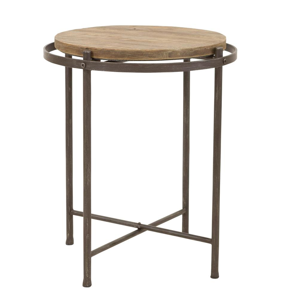 - Aspire Home Accents Patton Distressed Gray Industrial Accent Table