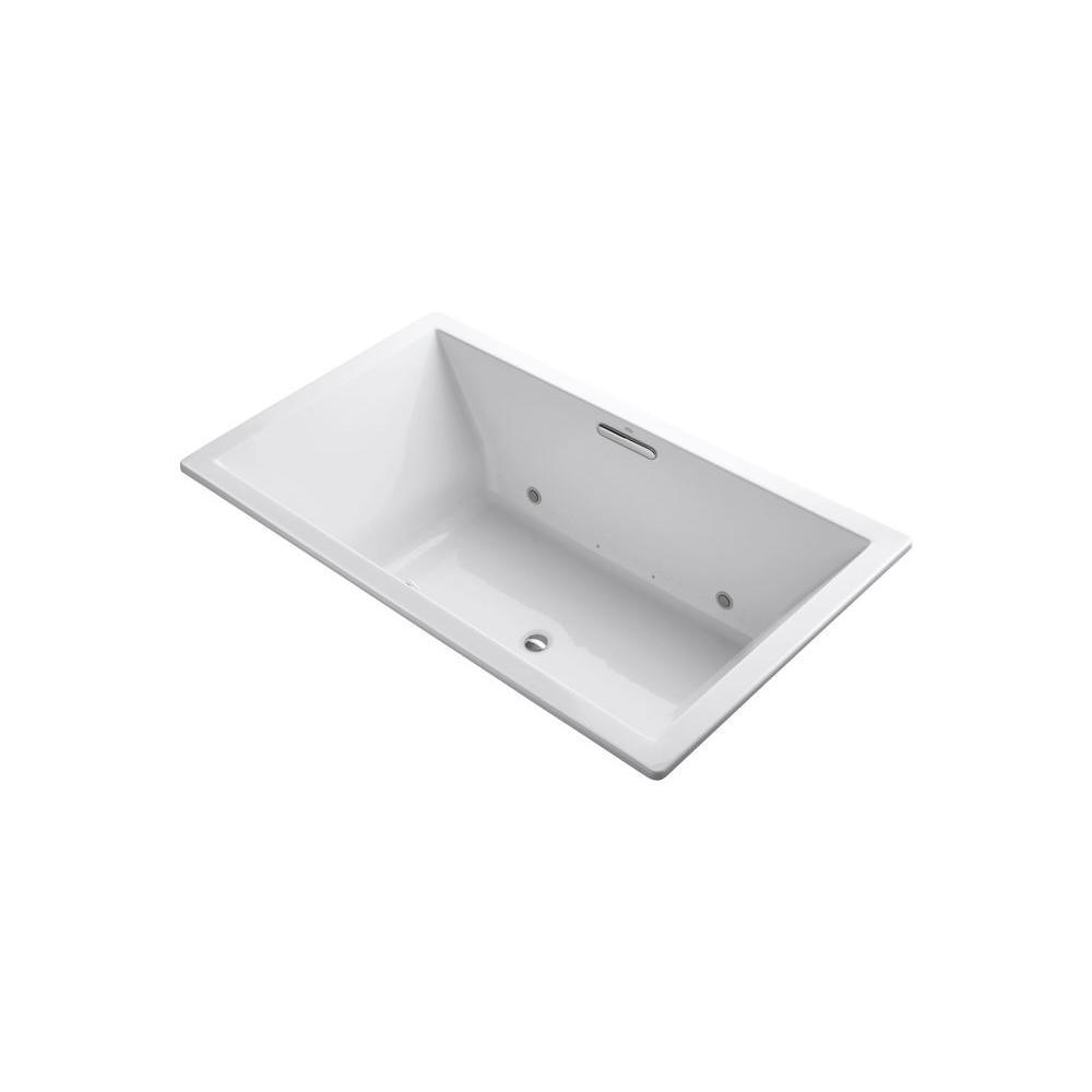KOHLER Underscore 6 ft. Rectangular Drop-in Air Bath Tub in White