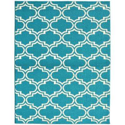 Silhouette Teal/Ivory 8 ft. x 10 ft. Area Rug