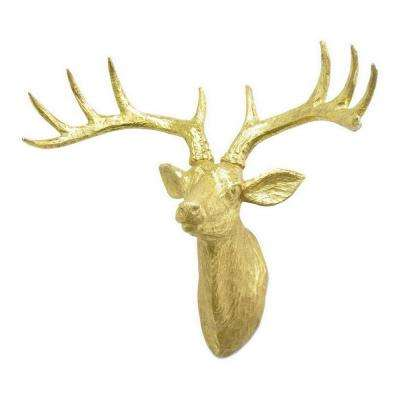 17 in. Deer Wall Decor in Gold