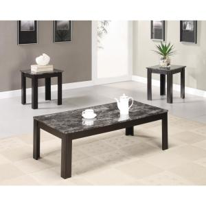 Black 3 Piece Occasional Table Set With Marble Looking Top