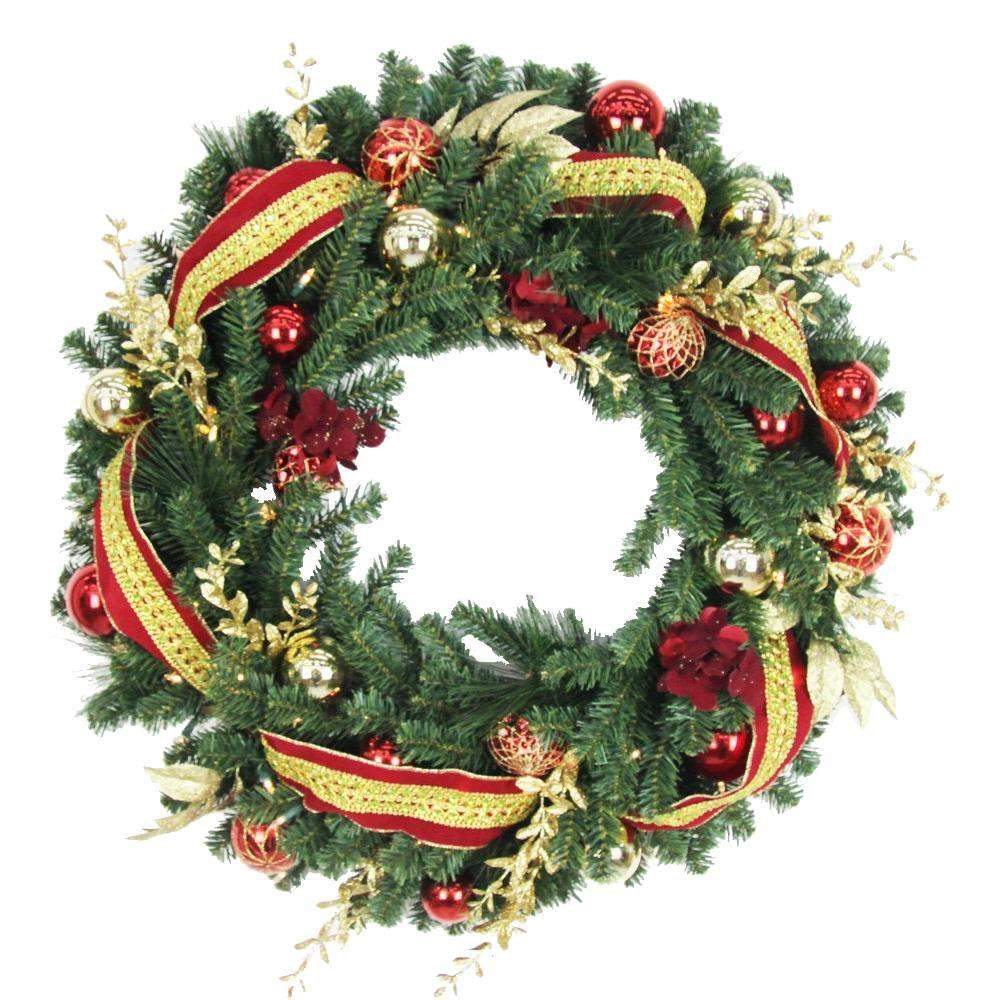 battery operated plaza artificial wreath with 50 clear led lights