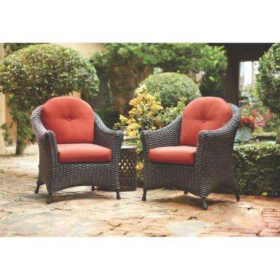 Lake Adela Patio Charcoal Chat Chairs with Spice Cushions (2-Pack)