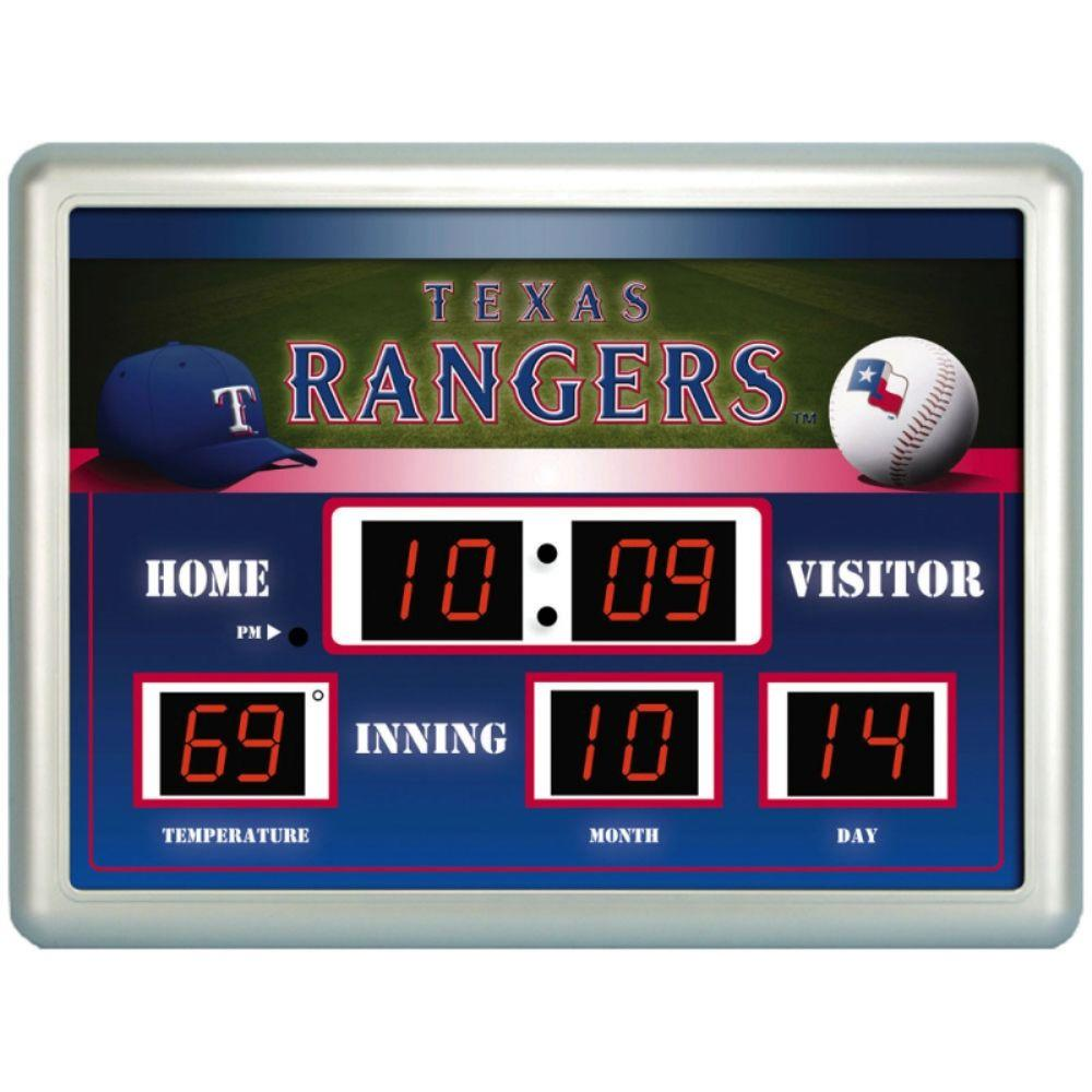 null Texas Rangers 14 in. x 19 in. Scoreboard Clock with Temperature
