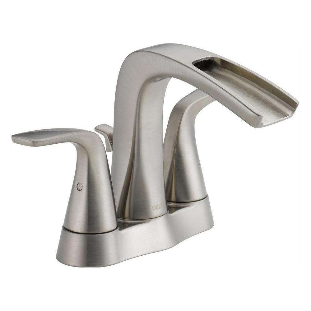 Delta Tolva 4 in. Centerset 2-Handle Bathroom Faucet in Brushed Nickel