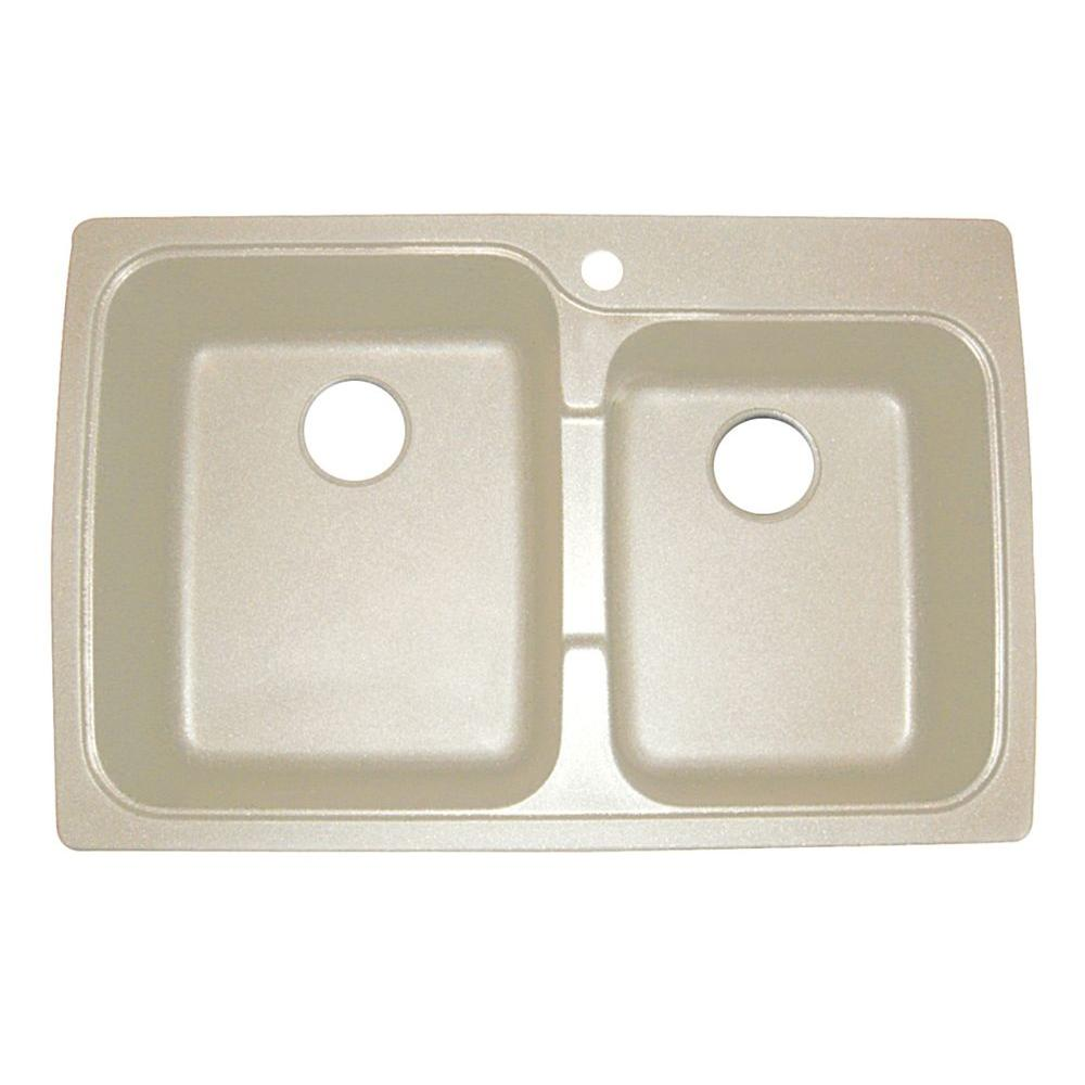 Offset Dual Mount Granite Composite 33 in. 1-Hole Double Bowl Sink