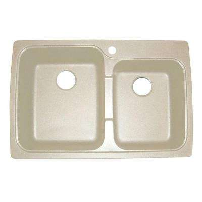 Offset Dual Mount Granite Composite 33 in. 1-Hole Double Bowl Sink in Sahara Beige