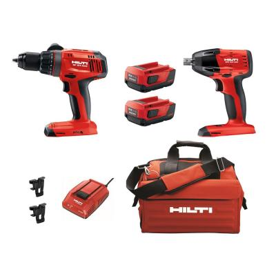 22-Volt Lithium-Ion Keyless Chuck Cordless Hammer Drill Driver/1/2 in. Impact Wrench Combo Kit (2-Tool)