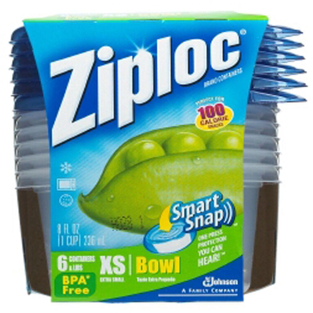 Ziploc 8 oz. XSmall Plastic Storage Bowl with Smart Snap Lid (6 per Pack) (6 per Carton)-DISCONTINUED