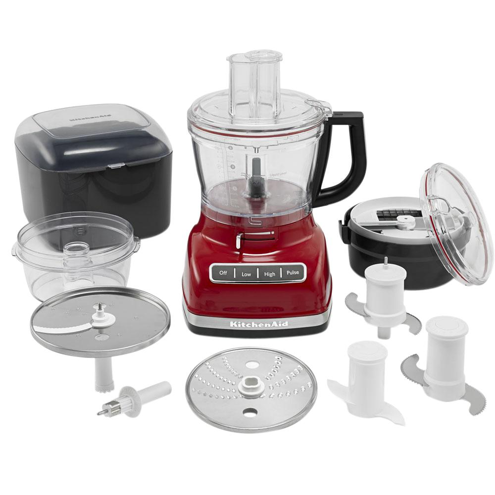 ExactSlice Food Processor, Empire Red This 14-cup food processor from KitchenAid features the first, residential, hands-free, commercial-style dicing kit and ExactSlice system to slice from thick to thin with one slide of the lever. These features enable you to prep your food safely and efficiently. The UltraTight seal features a specially designed locking system with leak-resistant ring that allows you to fill the work bowl to capacity with ingredients without worrying about making a mess. Slice, dice, shred, knead, and chop with ease so you can enjoy your meal in no time. Color: Empire Red.