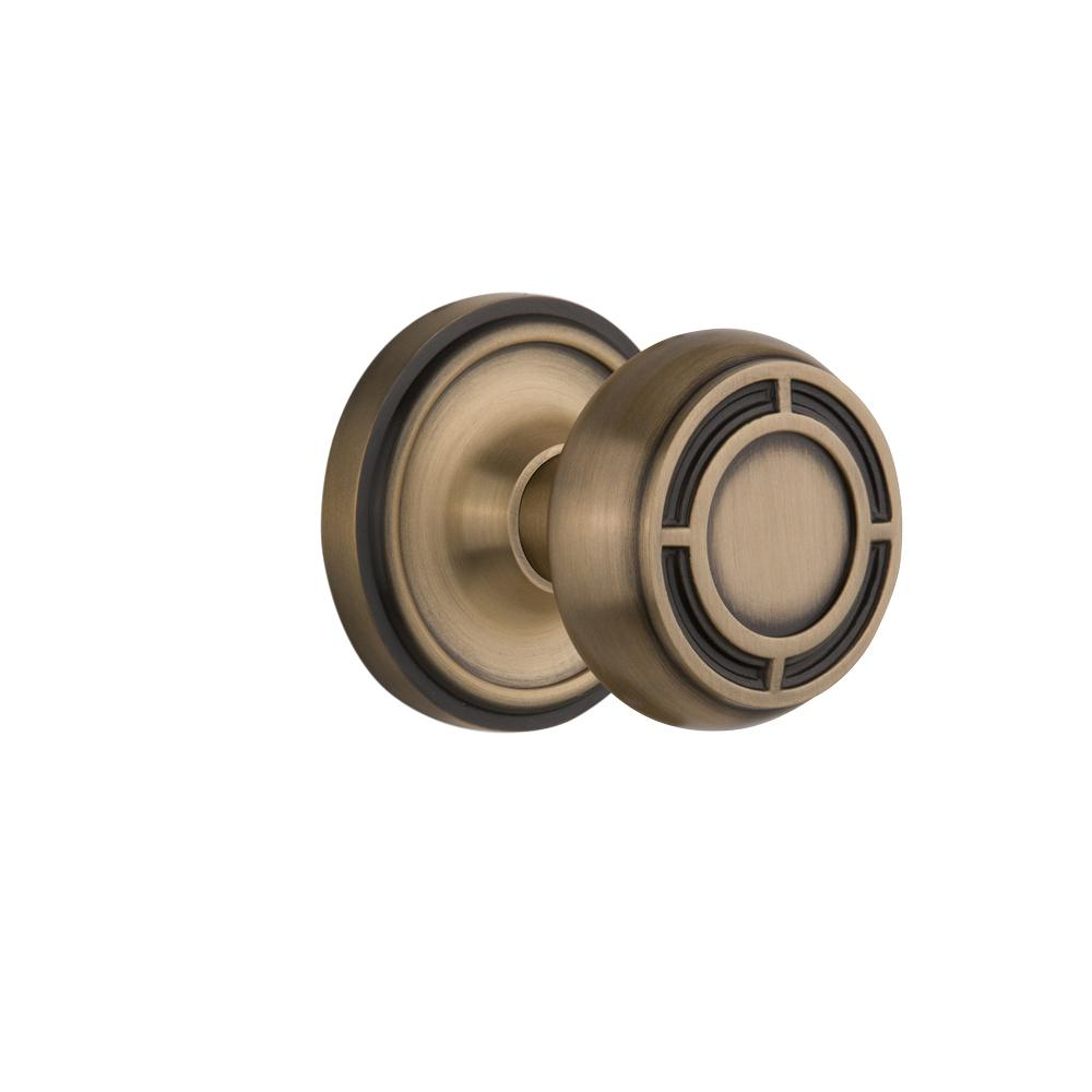 Nostalgic Warehouse Classic Rosette Interior Mortise Mission Door Knob in Antique Brass  sc 1 st  Home Depot & Nostalgic Warehouse Classic Rosette Interior Mortise Mission Door ...