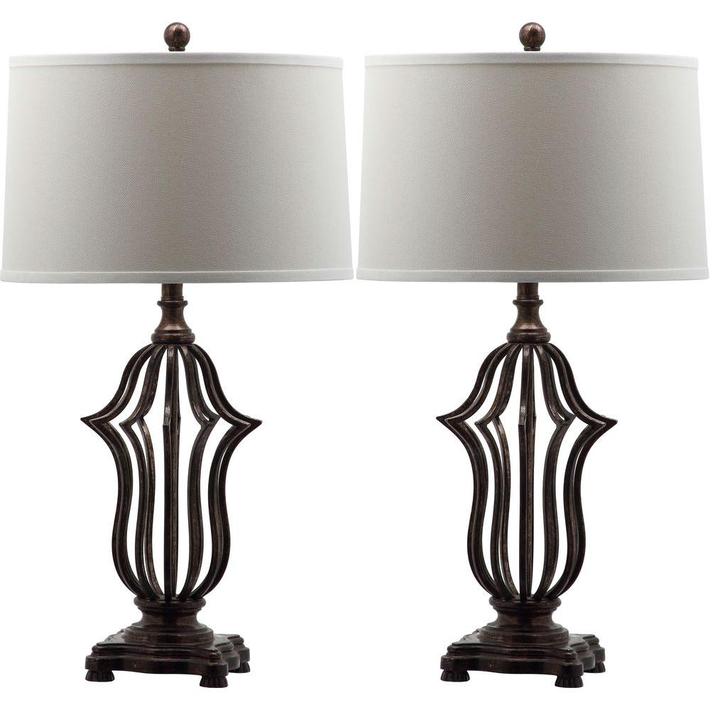 Safavieh Chloe Sculpture 30.5 in. Oil-Rubbed Bronze Table Lamp with ...