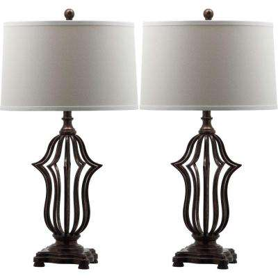 Chloe Sculpture 30.5 in. Oil-Rubbed Bronze Table Lamp with White Shade (Set of 2)
