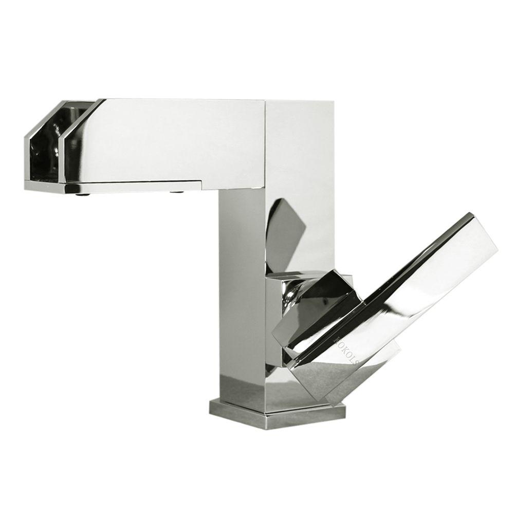 Kokols Viynl Series Single Hole 1 Handle Color Change LED Vessel Bathroom  Faucet In Chrome
