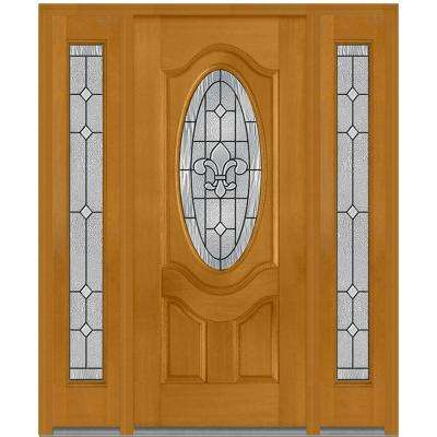 64 in. x 80 in. Carrollton Right-Hand Oval Lite Decorative Stained Fiberglass Mahogany Prehung Front Door with Sidelites