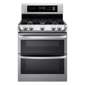 LG Electronics 6.9 cu. ft. Double Oven Gas Range with ProBake Convection Oven and EasyClean in Stainless Steel by LG Electronics
