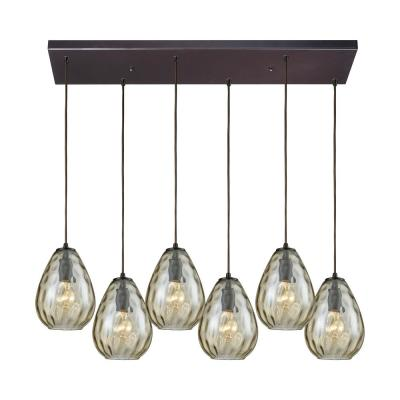 Lagoon 6-Light Rectangle in Oil Rubbed Bronze Pendant with Champagne Plated Water Glass