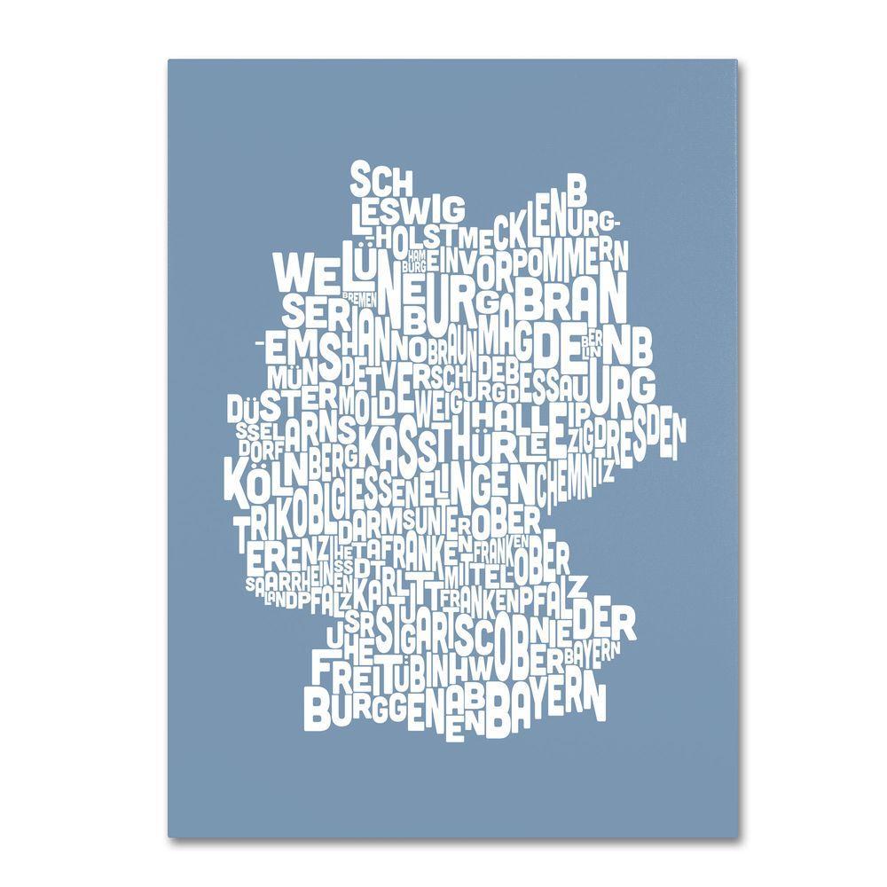 30 in. x 47 in. Germany Regions Map - Steel Canvas