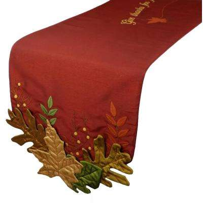13 in. x 72 in. Leaves Applique with Embroidery Collection Table Runner