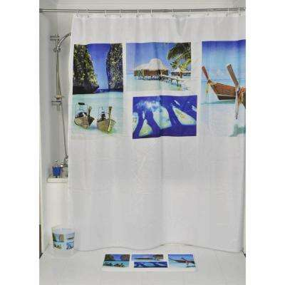 Paradise Polyester Printed Fabric Shower Curtain Multicolored
