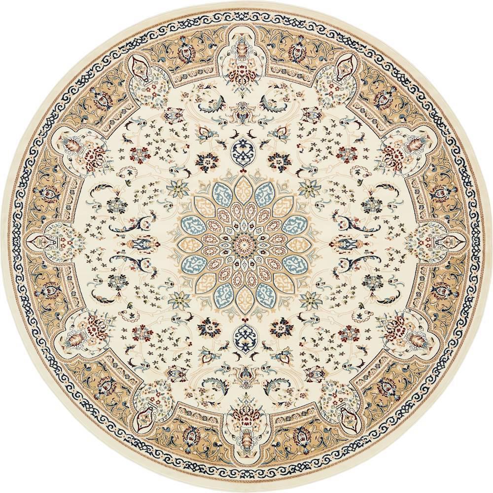 unique loom nain design ivory 10 ft x 10 ft round area rug 3135100 the home depot. Black Bedroom Furniture Sets. Home Design Ideas