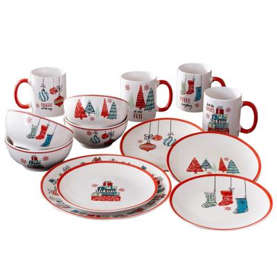 Holiday 16-Piece Seasonal Multi Porcelain Dinnerware Set (Service for 4)