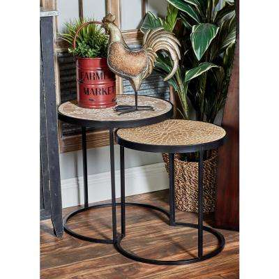 Distressed Brown And Black Round Nesting Tables (Set Of 3)