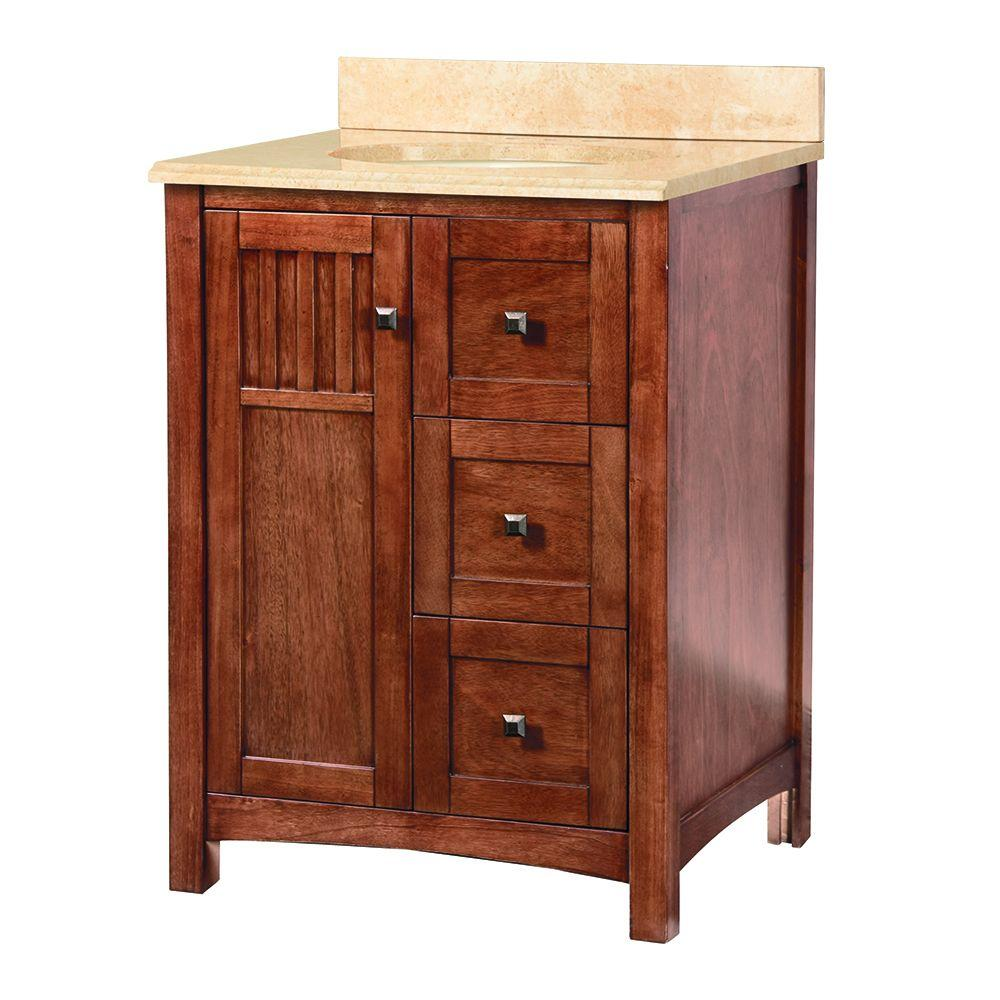 Home Decorators Collection Knoxville 25 in. W x 22 in. D Vanity in Nutmeg with Stone Effects Vanity Top in Oasis