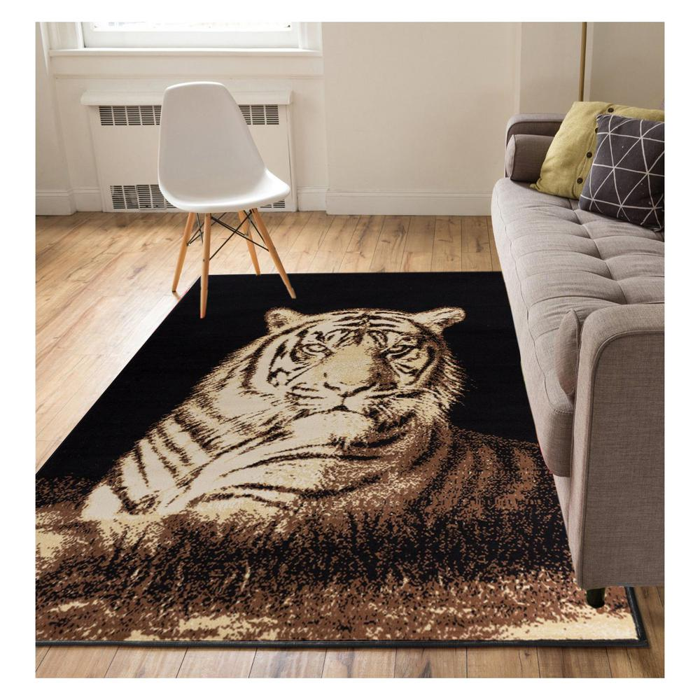 Well Woven Miami Tiger Animal Print Novelty Black 5 Ft. X