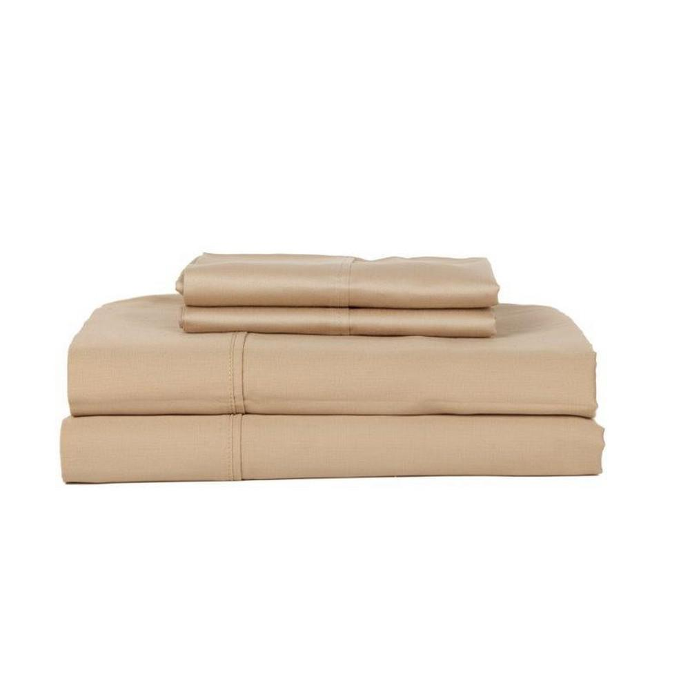 DEVONSHIRE COLLECTION OF NOTTINGHAM 3-Piece Taupe Solid 280 Thread Count Cotton Twin Sheet Set, Brown was $59.99 now $35.99 (40.0% off)