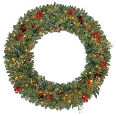 48 in. Pre-Lit Winslow Fir Artificial Christmas Wreath with Clear Lights