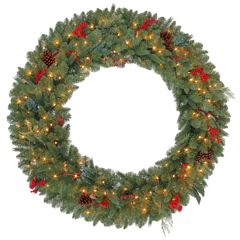 Martha Stewart Living 48 in. Pre-Lit Winslow Fir Artificial Christmas Wreath with Clear Lights