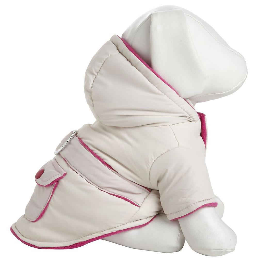 PET LIFE X-Small Pink Two-Tone Jewel Jacket with Hood