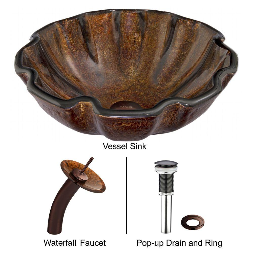 Vigo Glass Vessel Sink In Walnut Shell With Waterfall Faucet Set In