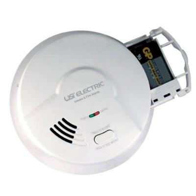 Hardwired Ionization Smoke And Fire Detector, 9V Battery Backup, Pull Out Drawer, Microprocessor Intelligence