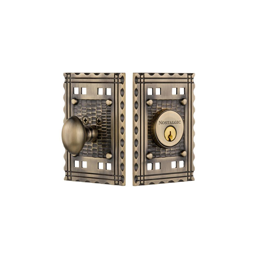 Craftsman Plate 2-3/8 in. Backset Single Cylinder Deadbolt in Antique Brass