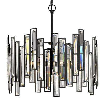 Madison 18 in. 3-Light Aged Bronze Chandelier with Crystal Prisms