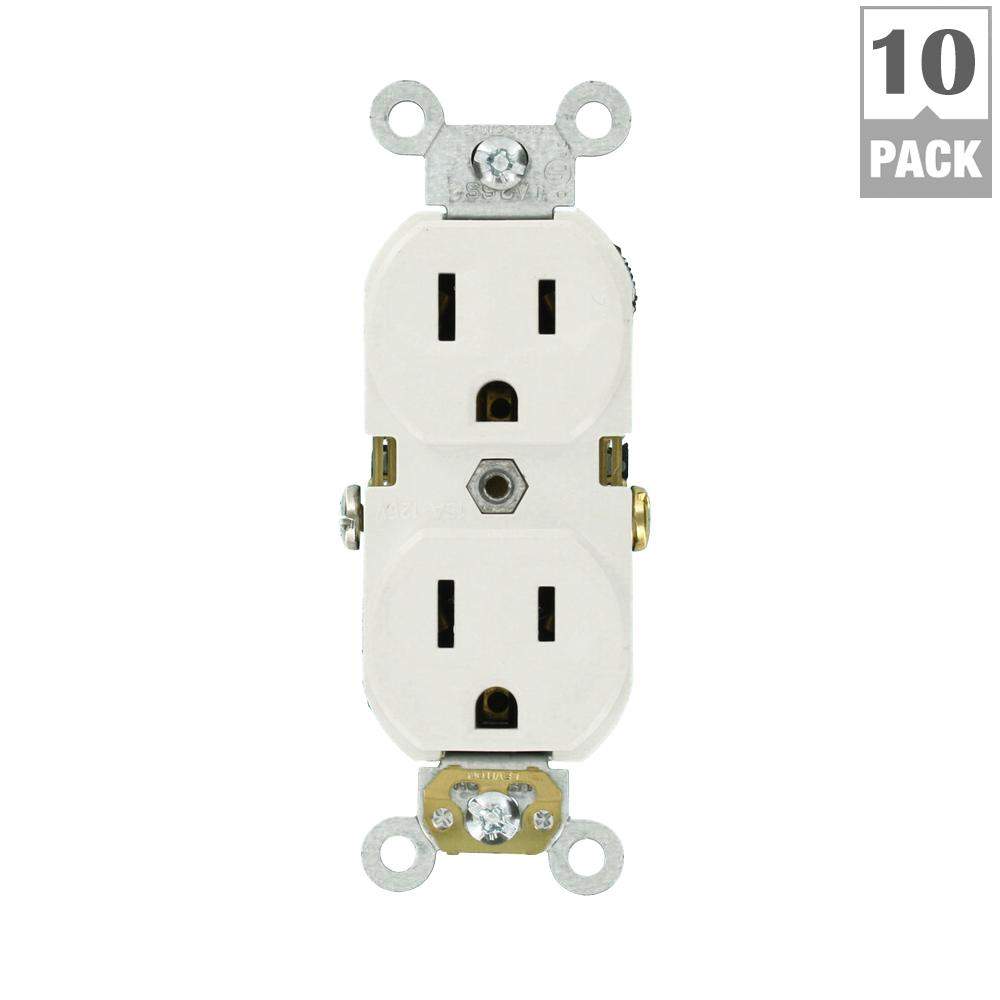Leviton 15 Amp 125-Volt Duplex Self-Test Slim GFCI Outlet, White-R02 ...