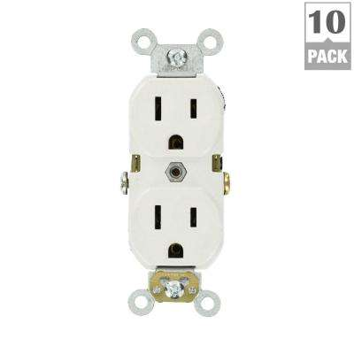 15 Amp Commercial Grade Duplex Outlet, White (10 Pack)