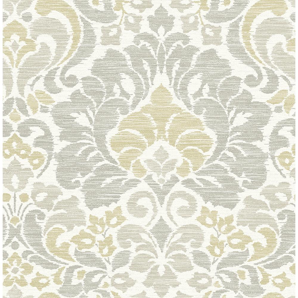 8 in. x 10 in. Garden of Eden Yellow Damask Wallpaper Sample